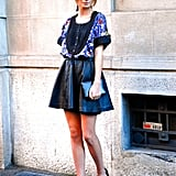 """A voluminous version on the streets of Milan Spring 2012 Fashion Week.  Shop the look: <iframe src=""""http://widget.shopstyle.com/widget?pid=uid5121-1693761-41&look=4084790&width=3&height=3&layouttype=0&border=0&footer=0"""" frameborder=""""0"""" height=""""244"""" scrolling=""""no"""" width=""""286""""></iframe> Photo Courtesy of Stylesight"""