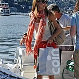 Stacy Keibler was aboard a boat with shopping bags in her hands.