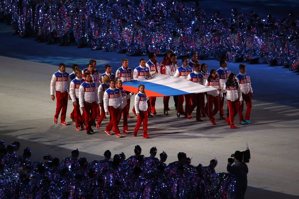 The Russian flag was carried into the arena by Russian athletes.