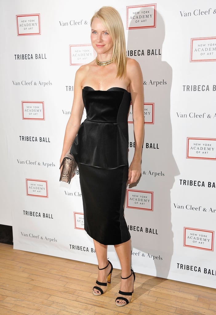 Naomi Watts wore a black Stella McCartney dress to the Tribeca Ball in NYC.