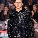 Timothée managed to make the red carpet hoodie a thing with this sequin Louis Vuitton iteration he wore to the UK premiere of The King during the BFI London Film Festival.