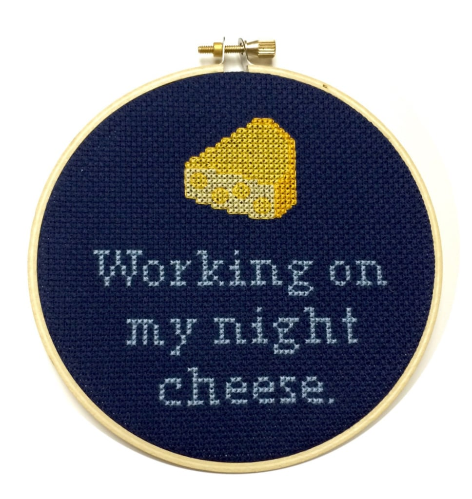 Working On My Night Cheese Needlepoint ($35)