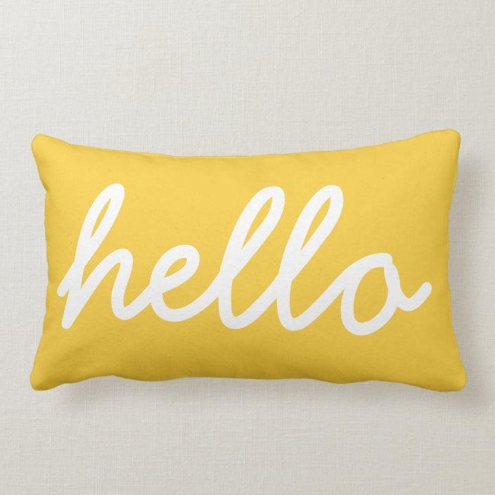 Modern Hello Throw Pillow