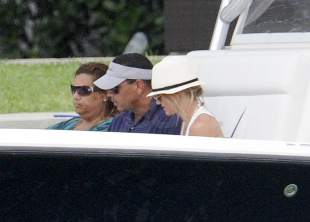 Cameron Diaz and Alex Rodriguez set forth on their latest day cruise from Miami today. The pair have been spending their afternoons on the water while he recuperates from knee surgery. Cameron and Alex were joined by a group of friends for today's outing, which happens to fall just one day before ARod's 36th birthday! Cameron's been keeping Alex company in Florida while production on her new film What to Expect When You're Expecting is under way in Atlanta. Her costar in the film, Jennifer Lopez, was also in South Florida over the weekend for her own birthday celebration that included some yachting, tanning, and bikinis. Cameron's bikini body got some rays earlier this week when she showed off her abs in a flirty white two-piece, which Alex seemed to appreciate.