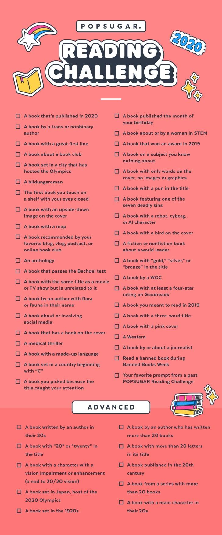 Book List 2020.Take The 2020 Popsugar Reading Challenge Popsugar