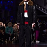 Anwar, Gigi and Bella's brother, also took the runway, in this shearling coat.
