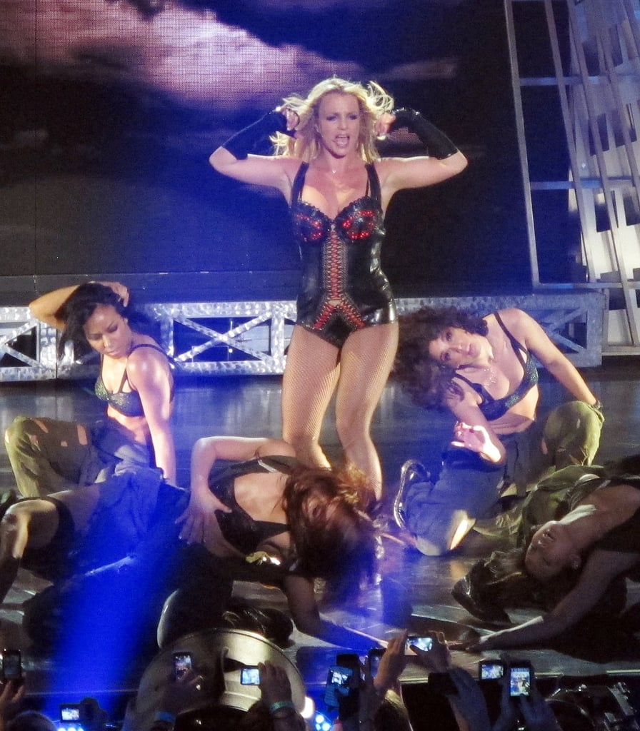 """Britney Spears took the stage last night for her first live performance in the run up to Femme Fatale's release on Tuesday. She was in Las Vegas at the Palms's Rain nightclub for a secret show that included an introduction from special guest Pauly D, who first met Brit last year. Part of the evening was taped for an upcoming MTV special in honor of her new record, and she sang and danced to a variety of songs that you love like """"Hold It Against Me"""" and """"Till the World Ends."""" Around a thousand fans got to see Brit in action, and many were thrilled with what they saw. It seems Britney herself was pleased with the outcome, as she later tweeted, """"OMFG it feels good to be on stage again!"""" She'll get to do it all tomorrow too, as she's scheduled to sing again in San Francisco."""