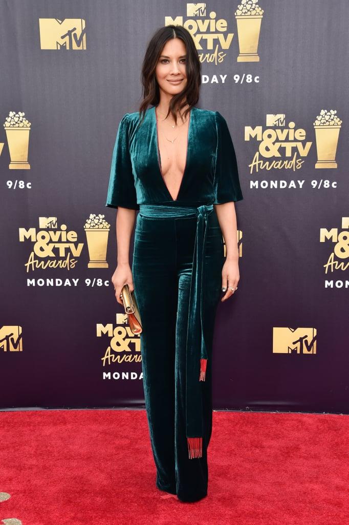 Olivia Munn Green Jumpsuit MTV Awards 2018