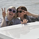 Lena Dunham and Kate Mara goofed around at the Venice Film Festival on Thursday.