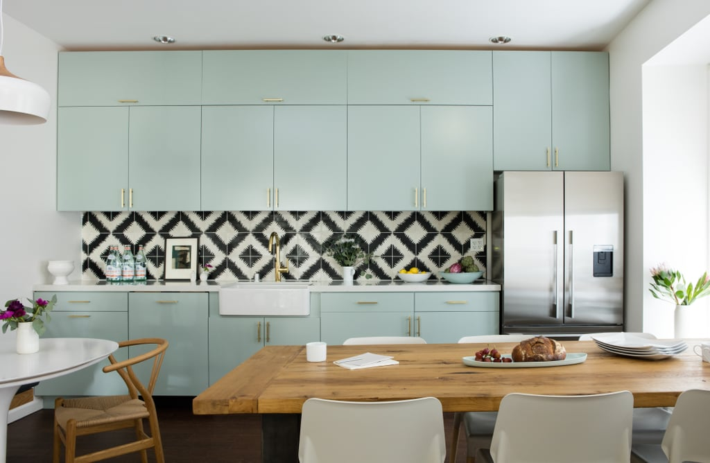 The Kitchen Is Pure Perfection: Pastel Mint Green Cabinets Are Dressed Up  With Brass Hardware