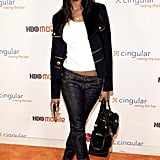Zoe rocked skinny jeans and a zippered jacket to a Cingular and LG party in '06.