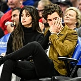 Camila Cabello and Shawn Mendes at a basketball game between the Clippers and the Raptors