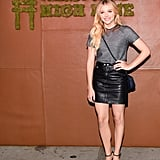 Chloë Grace Moretz slipped into Coach's knit tee and leather skirt for a slick, cool-girl look.