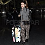 Rachel Bilson pushed colorful luggage.