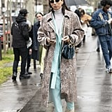 Style Your Leopard-Print Coat With: A Colorful Suit and Heels