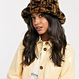 ASOS Design Monogram Faux Fur Bucket Hat