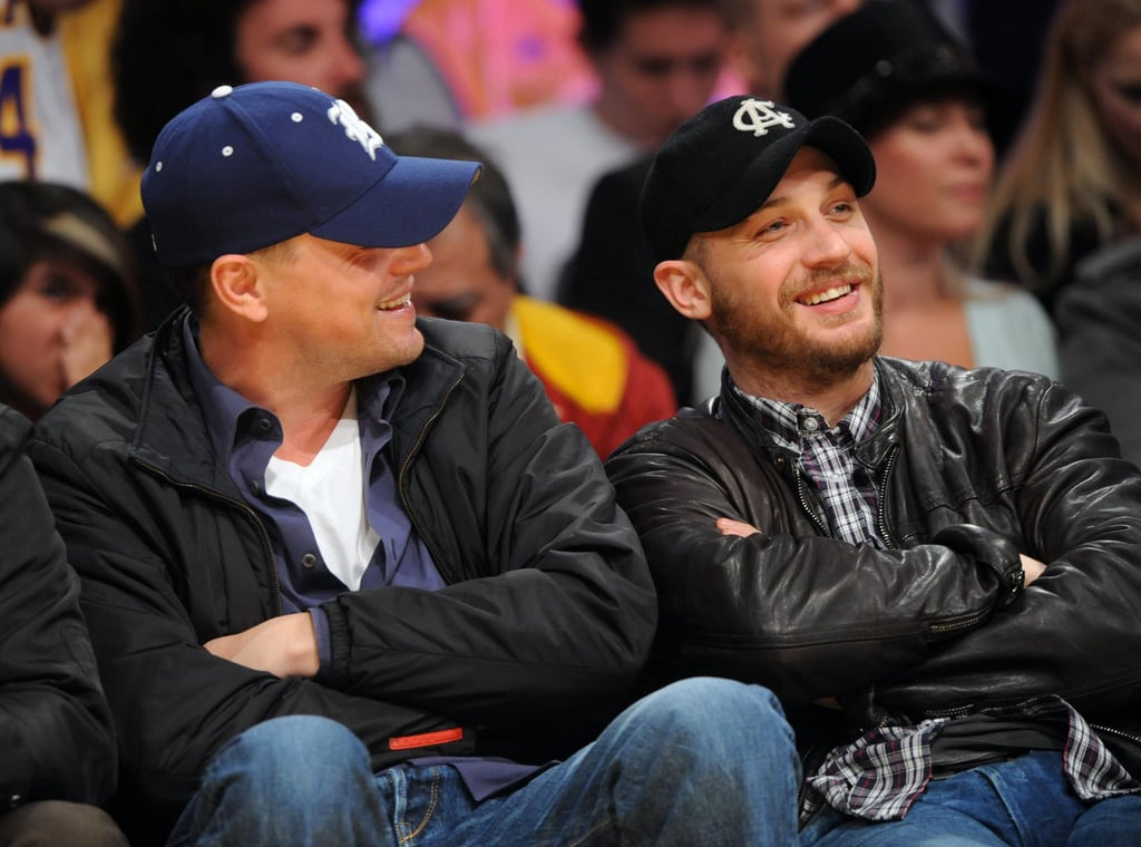 Leonardo DiCaprio and Tom Hardy sat courtside at the Lakers game last night, as they took on the San Antonio Spurs. The Inception costars have both presented awards to director Christopher Nolan recently, Leo at the DGA awards, and Tom at the VES awards. It's the second Lakers game that Tom's attended this year, and it's rumoured he'll be joined in his upcoming project The Dark Knight Rises with fellow Inception alum Joseph Gordon-Levitt. Meanwhile Leo's about to get back to work on the J. Edgar Hoover biopic, which begins production tomorrow.