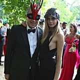 Super snapper Mario Testino got in on the masked fun with Cara.