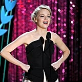 Emma Stone was animated during her speech.