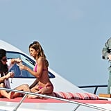 Sacha Baron Cohen and Elisabetta Canalis posed on a luxury yacht for The Dictator at the Cannes Film Festival.
