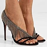 Aquazzura Wild Fringe Crystal-Embellished Suede Slingback Sandals