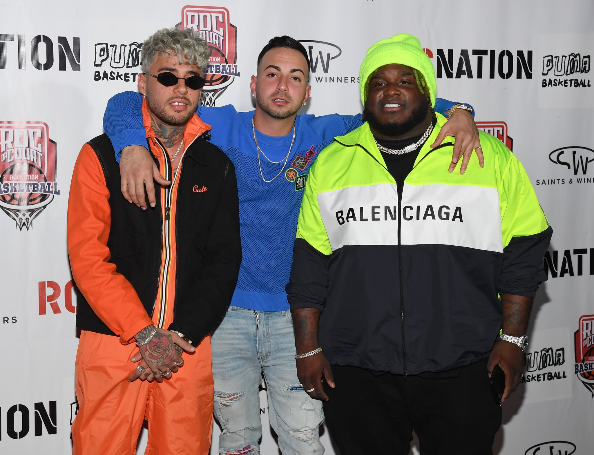 LAS VEGAS, NEVADA - APRIL 24:  (L-R) Singer Dalex, rapper Justin Quiles and recording artist Sech arrive at Roc Nation's Roc da Court all-star basketball game benefiting the Boys & Girls Clubs of Southern Nevada at Tarkanian Court on April 24, 2019 in Las Vegas, Nevada.  (Photo by Ethan Miller/Getty Images)