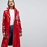 Neon Rose Oversized Trench Jacket in High Shine Vinyl
