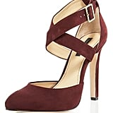The doublecross ankle strap adds a fashion-forward touch, plus we love the garnet hue for Fall. These will add oomph in the most refined way to your sheath dress. Rachel Zoe Ankle Wrap Pump ($275)
