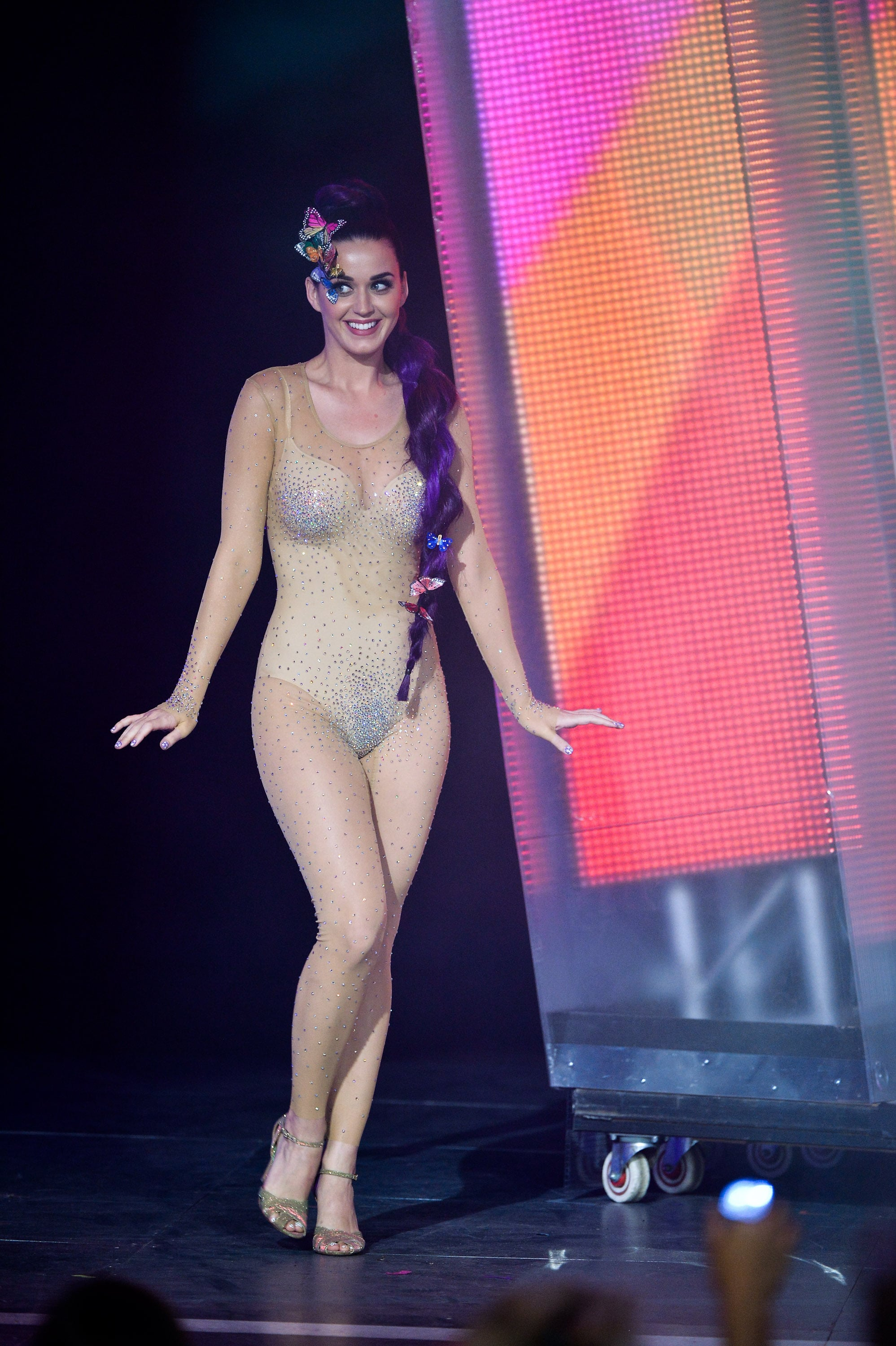 nude on stage Katy Perry walked on stage in a nude bodysuit at the MuchMusic Video Awards in Toronto
