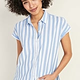 Old Navy Relaxed Vertical-Stripe Cap-Sleeve Shirt
