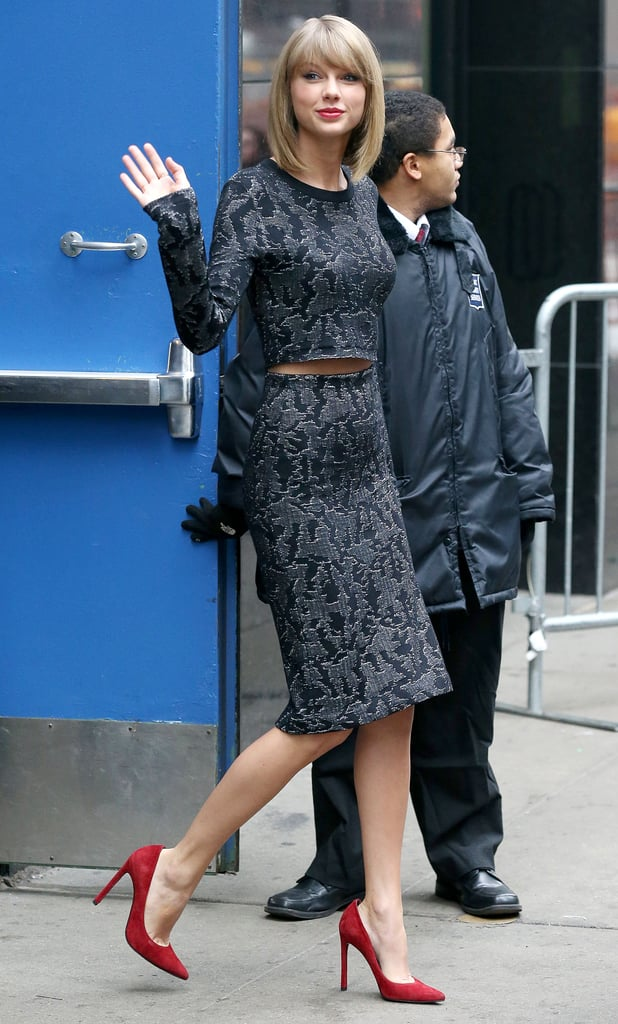 Taylor Swift in Navy Animal Print Skirt and Crop Top ...