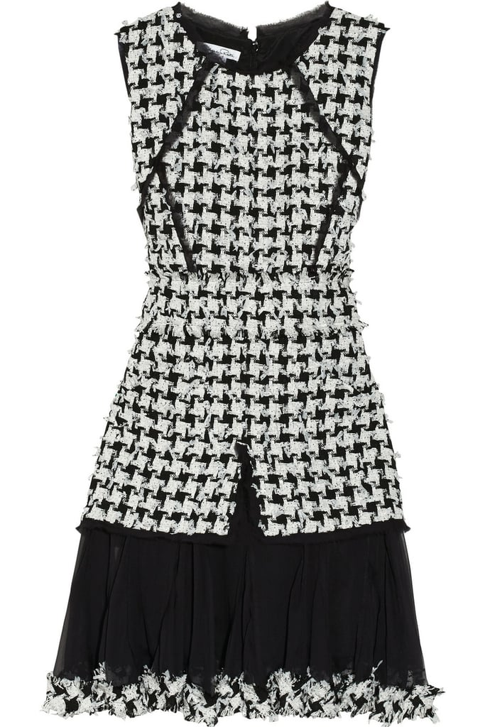 Houndstooth tweed and chiffon dress ($950)