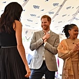 Prince Harry Fixing Meghan Markle's Hair at Cookbook Launch