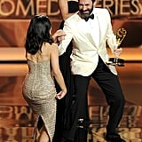 Jon Hamm presented Julia Louis-Dreyfus with her award.