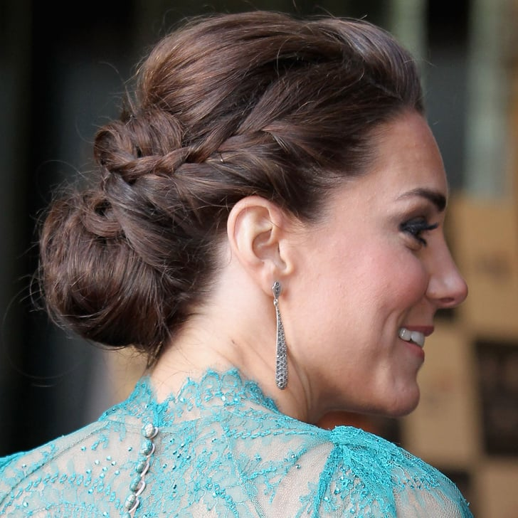 hair style with bangs kate middleton wears a braided bun up do popsugar 8218