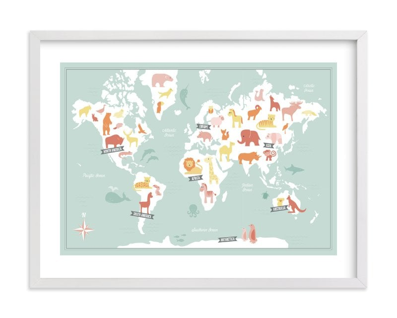 Our Minted Pick: Animal World Map (from $185 framed) | Where to Buy ...