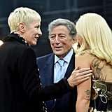Annie Lennox, Tony Bennett, and Lady Gaga had a smiley chat during Grammys rehearsals.