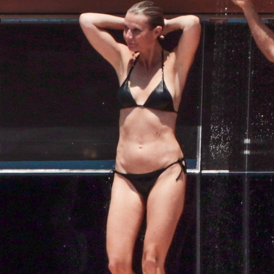 Gwyneth Paltrow Black Bikini With Brad Brad Falchuk in Italy