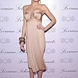 Wearing a strapless beige dress to the launch of Lorraine Schwartz's 2BHAPPY jewelry collection in 2010.
