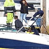 Isla Fisher hopped on a boat in Sydney.