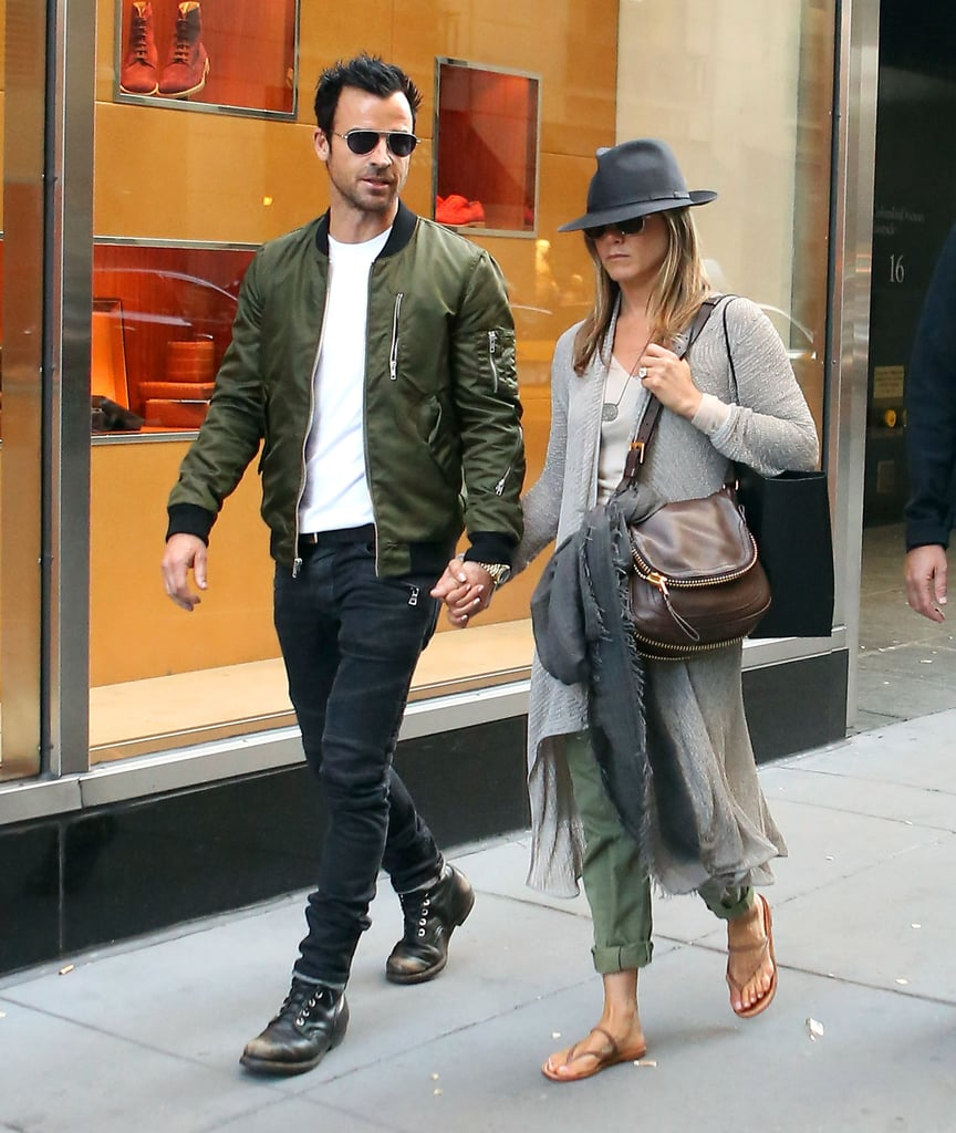"""Jennifer Aniston and Justin Theroux went shopping together at Barneys in NYC today. Jennifer is in the Big Apple to tend to promotional duties for her new Living Proof web series, Good Hair Day. While doing press for the new series, Jennifer's long-time friend and stylist Chris McMillan caused a bit of controversy when he revealed that he was stoned when he created the """"Rachel"""" cut back in 1994. However, he noted that he has been 14 years sober so he """"feels safe"""" admitting to his secret now. Jennifer and Justin have been reportedly busy planning their upcoming wedding. The two were allegedly supposed to get hitched back in the US Spring, but the date got pushed back. Aside from her nuptials, Jennifer has another big goal on the horizon — she wants to direct. She said in an interview that she hopes to direct a full-length feature within the next five years."""