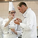 Kate Middleton and Prince William Get Animated in Chef Outfits at Culinary School!
