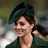 On Christmas in 2015, the Duchess wore this stunning emerald accessory to coordinate with her coat.