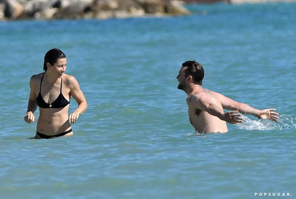 The couple splashed around in the ocean during their Caribbean getaway in November 2016.
