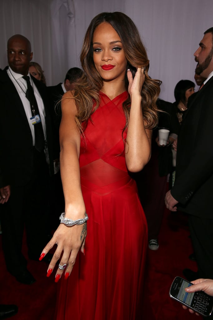 Rihanna wore red to the Grammy Awards.