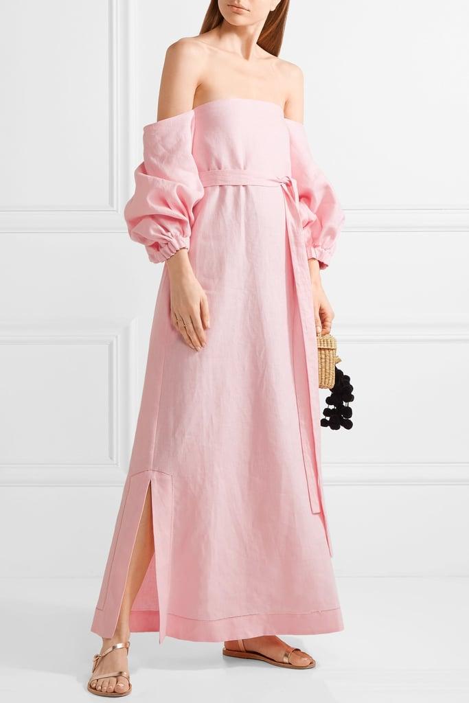 7a1a3dd92d Lisa Marie Fernandez Rosie Off-the-Shoulder Linen Maxi Dress