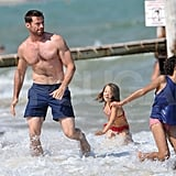 Hugh Jackman with Oscar and Ava Jackman.