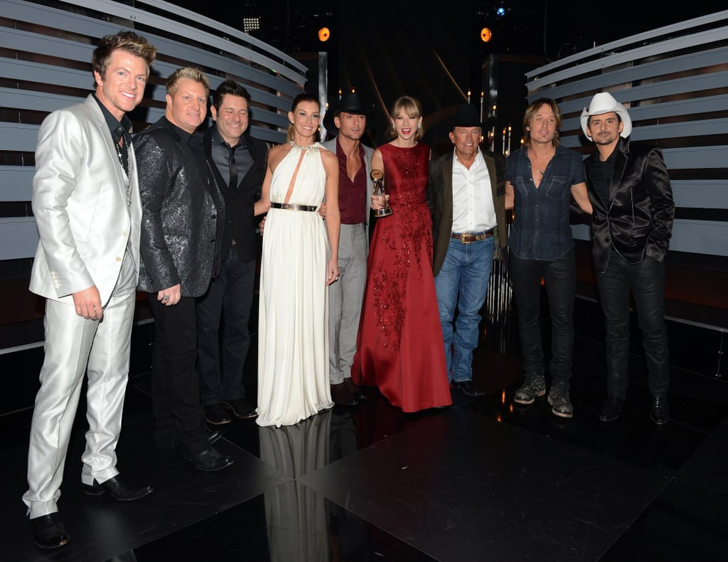 Taylor Swift was honored with the CMA pinnacle award by Faith Hill, Tim McGraw, Rascal Flatts, Brad Paisley, Keith Urban, and George Strait.