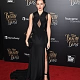 Emma's dress featured a single slit, allowing her to show off her sandals.