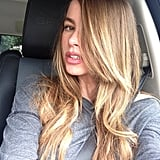 Sofia Vergara showed off much lighter strands, which are closer to her natural color, back in March. Source: Instagram user sofiavergara